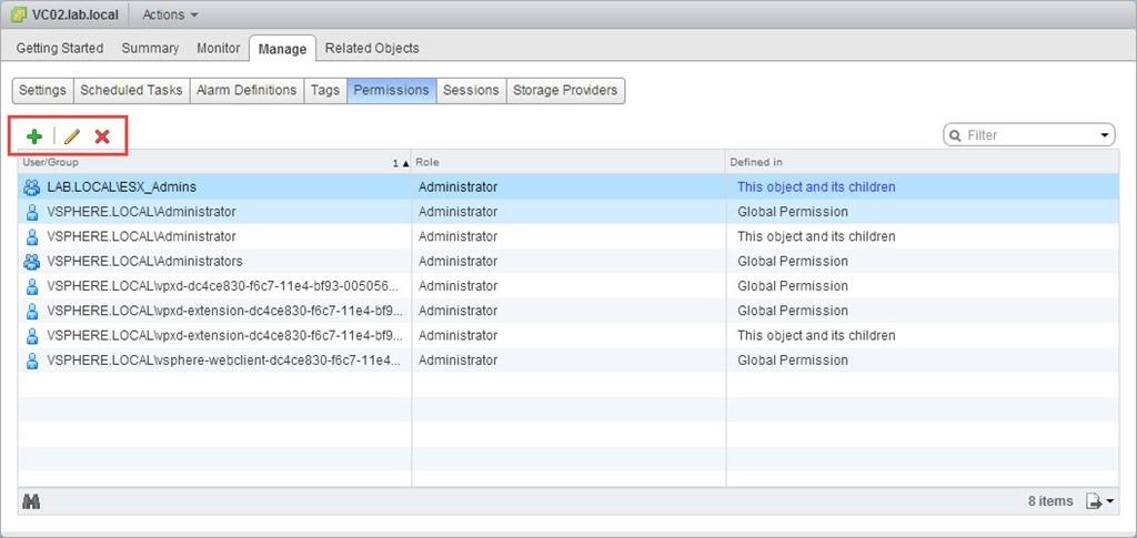 اضافه/ویرایش/حذف دسترسی های کاربران و گروه ها به اشیا در vCenter Server