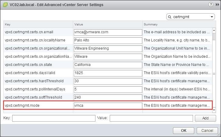 گواهینامه ها را از VMCA Mode به Custom یا Thumbprint تغییر دهید