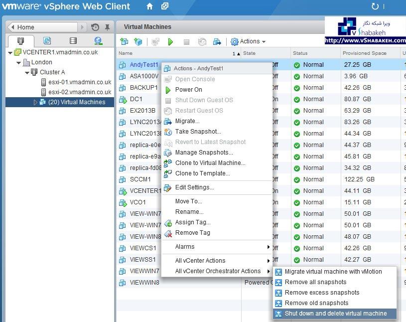 حذف ماشین مجازی توسط Workflow ها