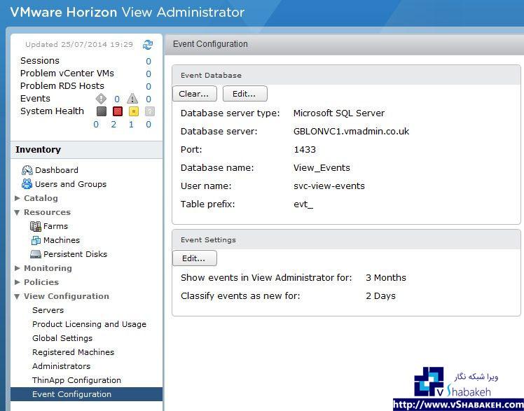 بررسی صحت عمکرد سرور SQL در Horizon View