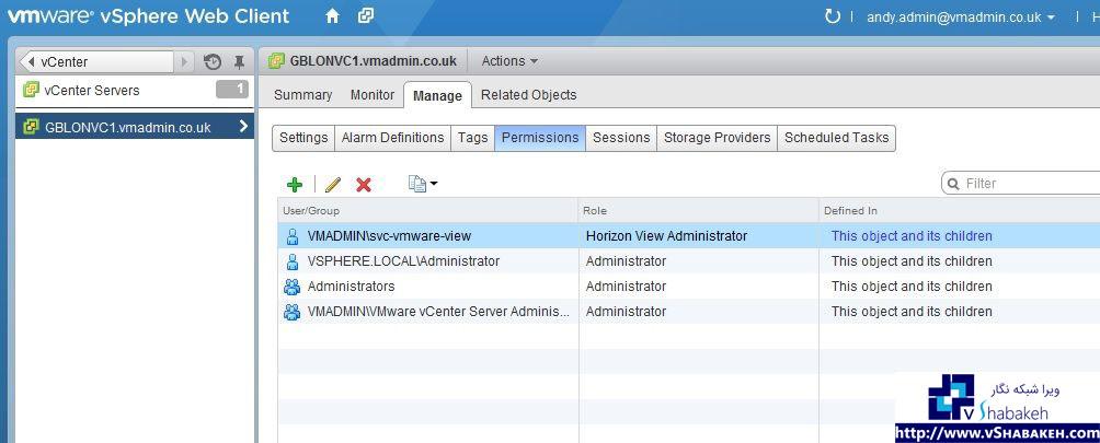 ساخت و مدیریت دسترسی ها در سرور vCenter