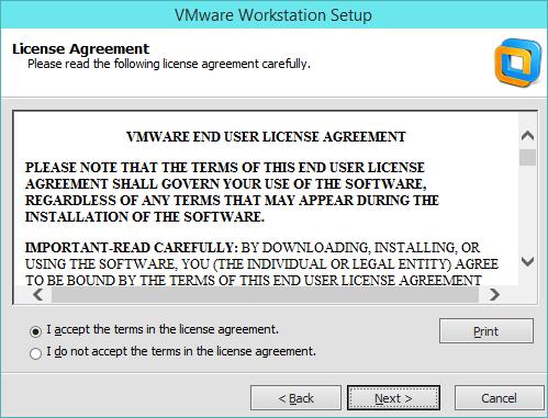 نصب VMware Workstation - پنجره توافق نامه