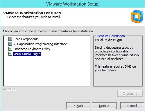 نصب VMware Workstation - انتخاب اجزای نصب