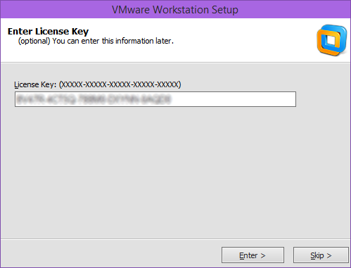 نصب VMware Workstation - وارد نمودن سریال نرم افزار