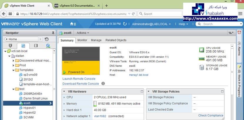 ESXi های تو در تو و نصب VMware Tools